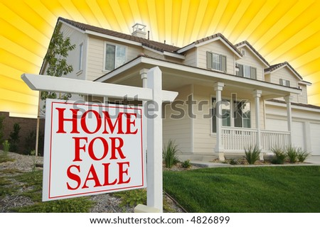 Home For Sale sign with Yellow Star-burst Background. See my theme variations. - stock photo