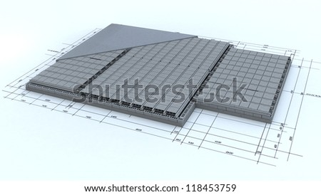 Home foundations on top of blueprints - stock photo