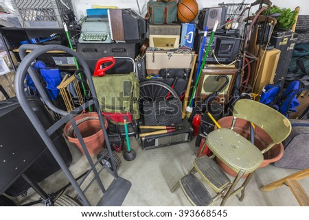 Home garage storage mess.