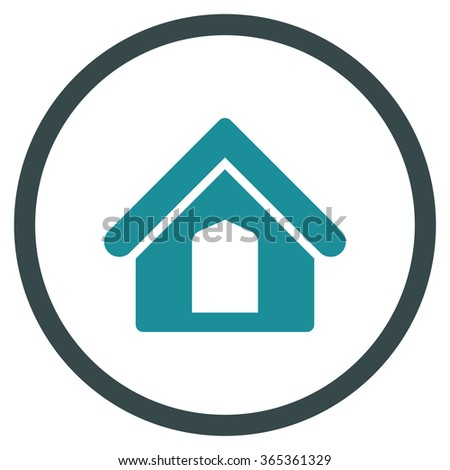 Home glyph icon. Style is bicolor flat circled symbol, soft blue colors, rounded angles, white background. - stock photo