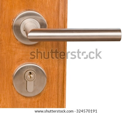 Home Hardware, Close Up of Lock and Door Handle Knob on Wooden Door.