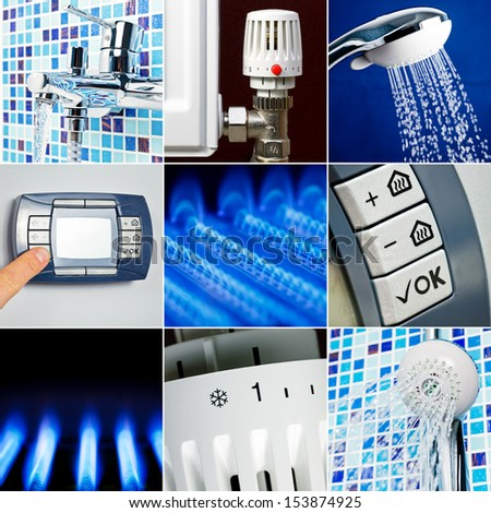 Home heating system collection set - stock photo