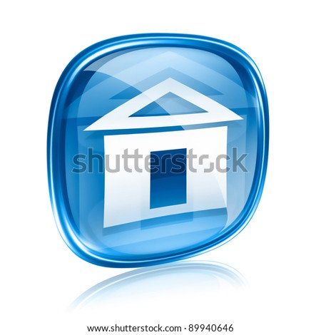 home icon blue glass, isolated on white background - stock photo