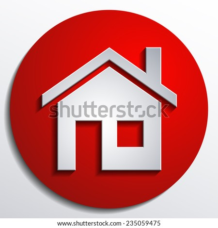 home icon design with isolated on Red background button - stock photo