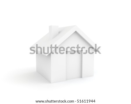 home icon isolated on white - white version - stock photo