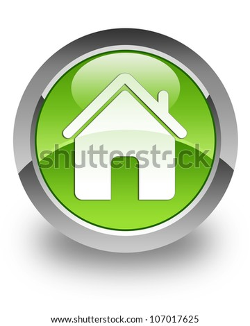 Home icon on glossy green round button - stock photo