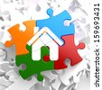 Home Icon on Multicolor Puzzle. - stock