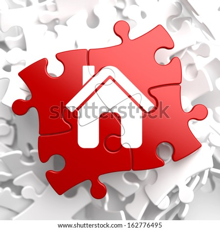 Home Icon on Red Puzzle. - stock photo