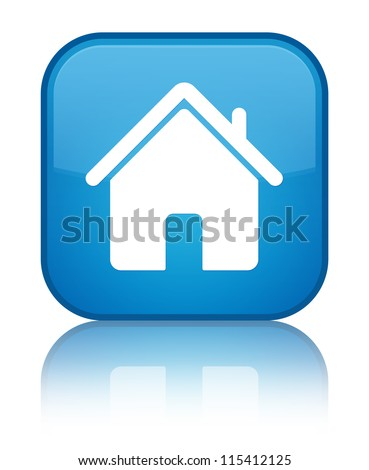 Home icon reflected on glossy blue square button - stock photo