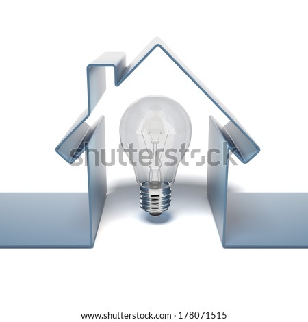 Home icon with bulb - stock photo