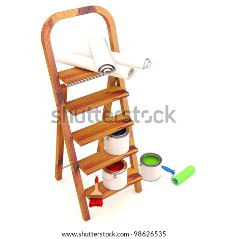 Home Improvement : ladder, paint can and paint roller, brush. 3D model - stock photo