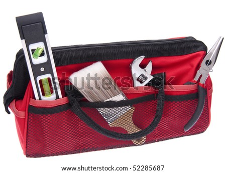 Home Improvement Scene.  Red Tool Box with Tools Isolated on White with a Clipping Path. - stock photo