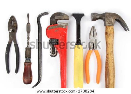 Home improvement tools, on white, for border or background - stock photo