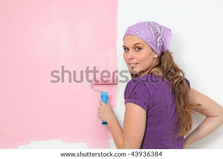 home improvements,painting babies room - stock photo