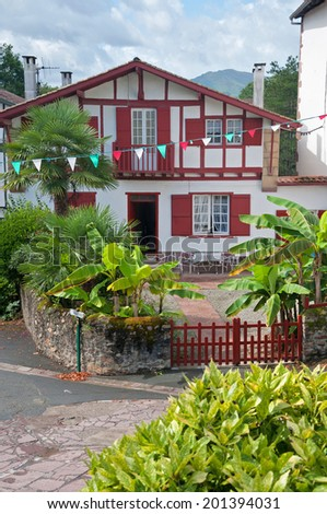 home in Ainhoa, Basque Country, France - stock photo