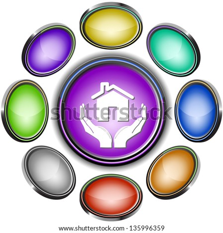 home in hands. Internet icons. Raster illustration. - stock photo