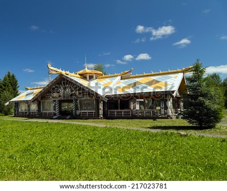 Home in Mandrogi crafts village on the Svir rive. Russia  - stock photo