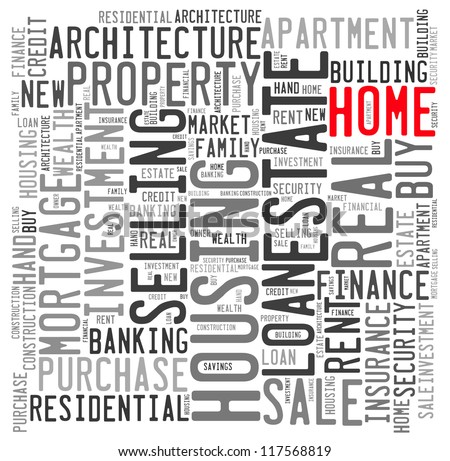Home info-text graphics and arrangement concept on white background (word cloud) - stock photo