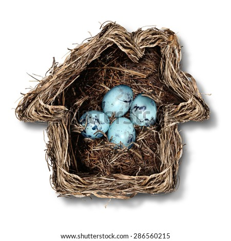 Home insurance concept and family security symbol as a bird nest shaped as a house with a group of fragile eggs inside as a metaphor for protection of residence or parenting. - stock photo