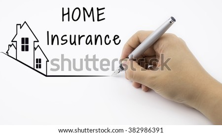 Home Insurance - Real Estate concept with female hand and pen - stock photo