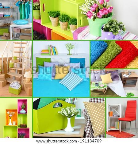 Home interior collage - stock photo