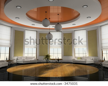 Home interior 3D rendering - stock photo