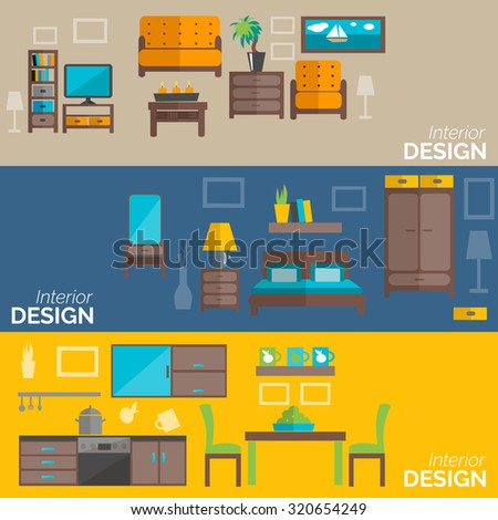 Living room objects furniture and equipment vector illustration - Furniture Set Rooms House Flat Style Stock Vector