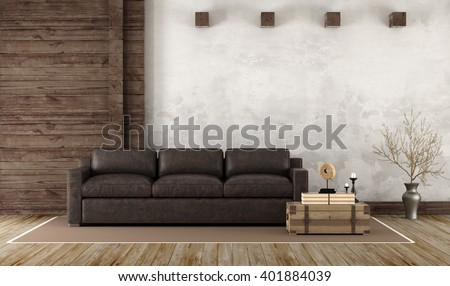 Home interior in rustic style with leather couch and old wooden paneling - 3d Rendering - stock photo