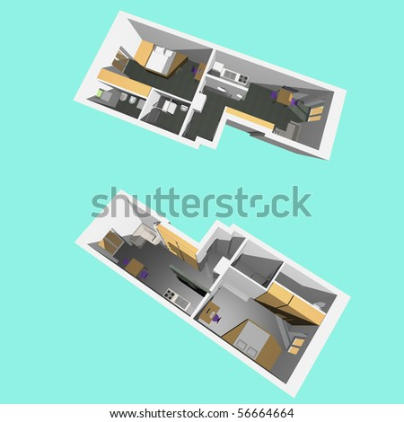 home interior model of a modern flat two perspective views cyan blue background - Cyan Home Interior