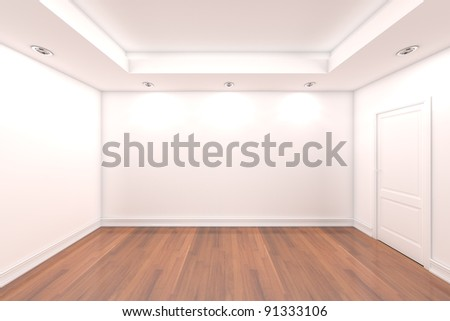 Home interior rendering with empty room color wall and decorated door with wooden floors. - stock photo