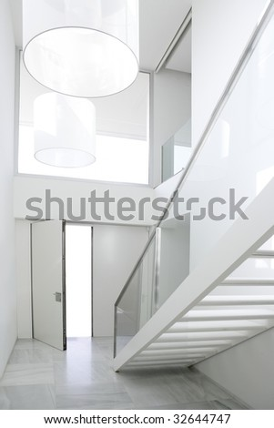 Home interior stair white architecture lobby house decoration - stock photo