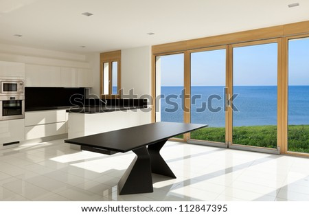 home interior, view of the panoramic window - stock photo