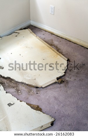 Home Interior Water leaking damaged plasterboard and carpet - stock photo