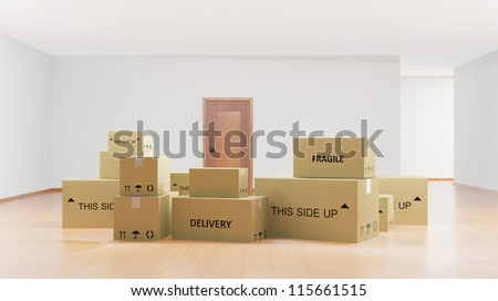 Home interior with cardboard boxes - stock photo
