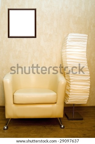 home interior with chair, lamp and picture