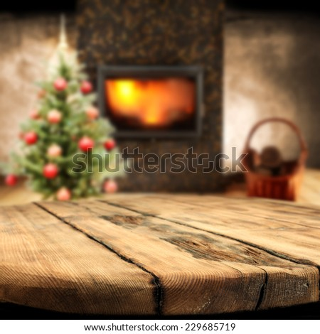 home interior with december time  - stock photo