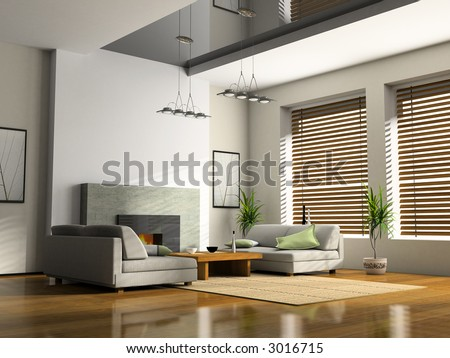 Home interior with fireplace and sofas 3D rendering - stock photo