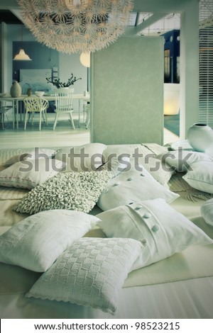 home interior  with pillows in living room - stock photo