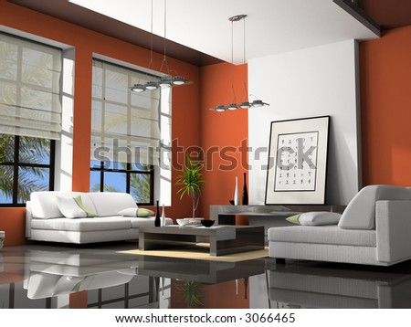 Home interior with sofas red 3D rendering - stock photo