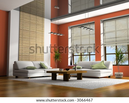 Home interior with table and sofas 3D rendering - stock photo