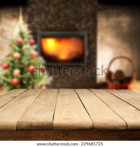 home interior with table and tree of xmas  - stock photo