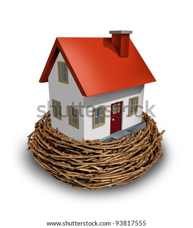 Home Investment as safe investing in a real estate nest egg or a financial concept of saving for a house and residential equity planning to save for the construction of a dream home of the future. - stock photo