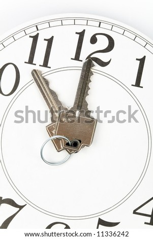 home key and clock, Real Estate Marketing Concept - stock photo