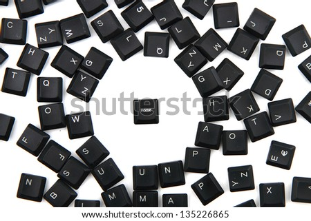 home key and other keyboard parts - stock photo