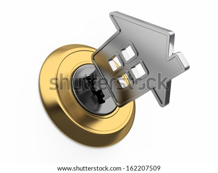 Home key in keyhole - stock photo