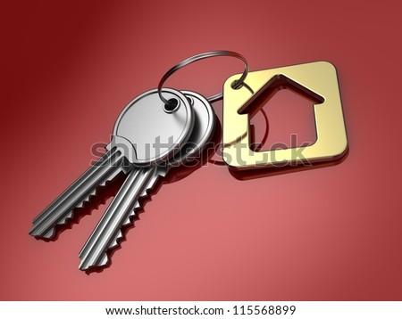 Home key on color background. 3d illustration. - stock photo