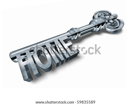 home key silver isolated on white background - stock photo