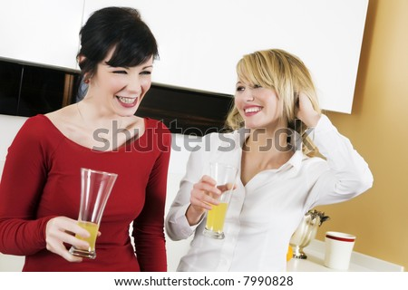 home life: best friends having fun together - stock photo