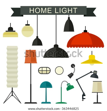 Home light with lamps icons in flat style.