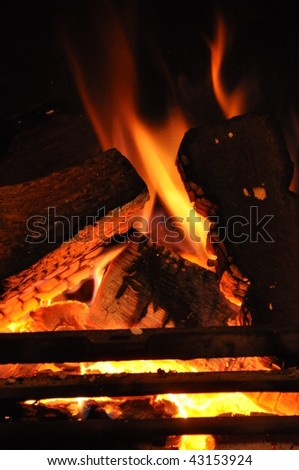 Home Log Fire burning - stock photo